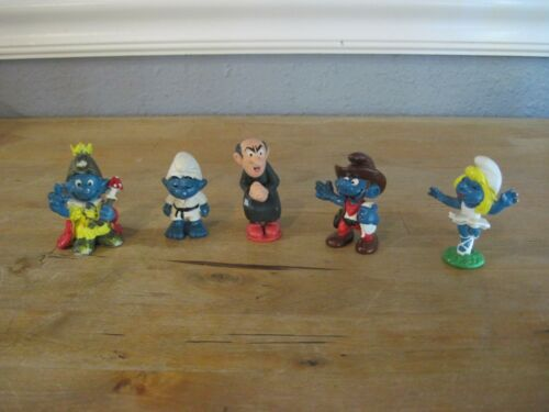 Vintage 1981 Peyo Schleich Bully Smurfs and Gargamel Lot of 5 Germany Hong Kong