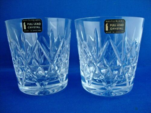 2 x Whitefriars Crystal Coronet Cut Pattern DOF Tumblers Glasses - Stickered 1