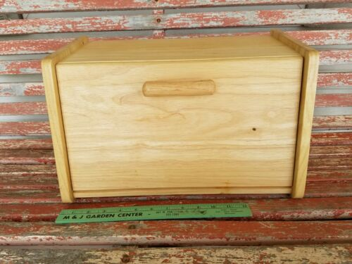 Blonde Smooth Pull Top Wooden Kitchen Wood Bread Box