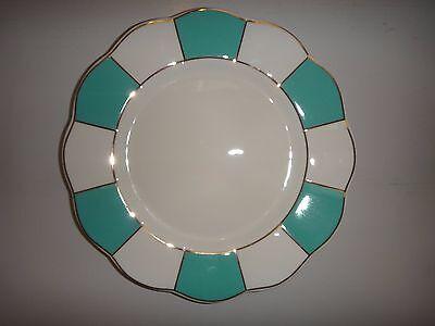 CYNTHIA ROWLEY Porcelain Salad Plate White Aqua Blue Stripe Gold Trim 8