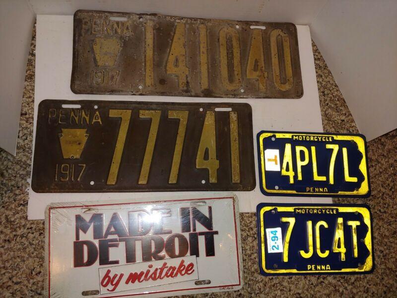 5 Vintage Auto License Plates,Two 1917 Pennsylvania,Detroit,Vanity,Motorcycle
