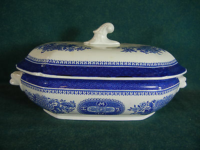 "Spode Blue Fitzhugh 11 1/2"" Covered Rectangular Serving Bowl with Lid"