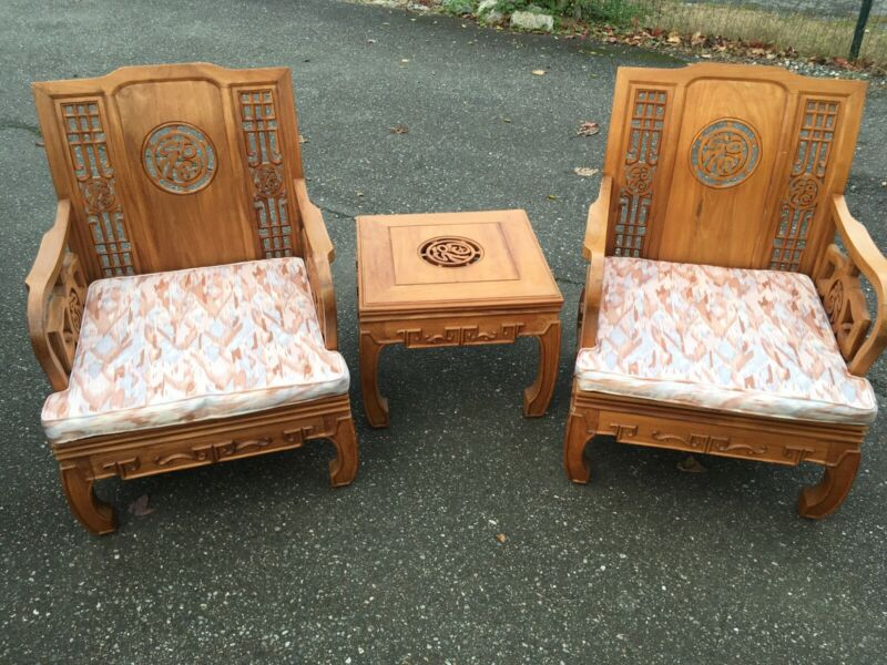 Vintage Chinese Chairs Table Rosewood Mahogany Teak Carved Ornate Asian Imperial