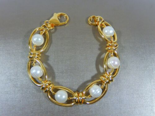 """NWOT HONORA BRONZE ITALY LARGE BAROQUE FW PEARL 8"""" BRACELETIN  MINT CONDITION"""