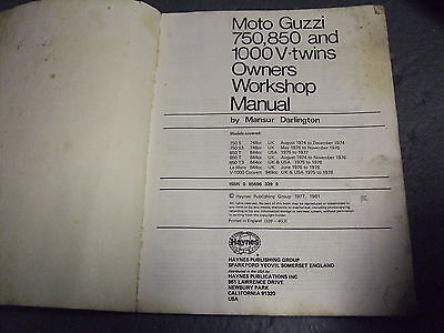 Haynes Moto Guzzi V Twins Workshop Manual 1974-78 Onwards Used