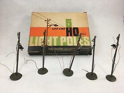 Vintage Life-Like Light Poles Set of 5 HO Scale LL - 70 Electrified Model Train