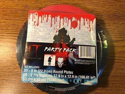 Halloween Party Movie 2019 (IT Movie Halloween Birthday Party Pack 20 Napkins Plates Pennywise 2019 RARE)