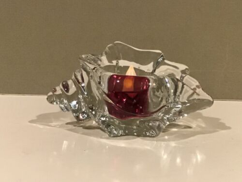 Vintage Avon Conch Seashell Crystal Glass Candle Holder