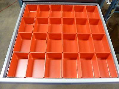 24 4x6x3 Red Plastic Boxes Fit Lista Vidmar Toolbox Organizers Bins Dividers