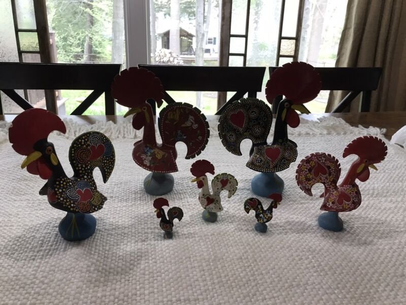 7 hand painted ceramic chickens made in portugal