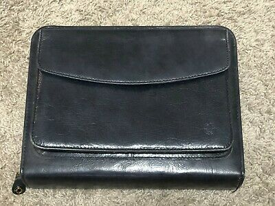 Franklin Covey Quest 7 Ring Binder Planner Black Full Grain Nappa Leather
