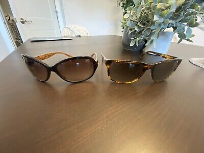 Used- 2 Pairs: Versace And Coach Sunglasses, Woman's, Kate Spade Case, Authentic