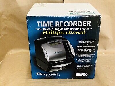 Brand New Sealed Acroprint Punch Card Time Clock System Es900 Fast Shipping