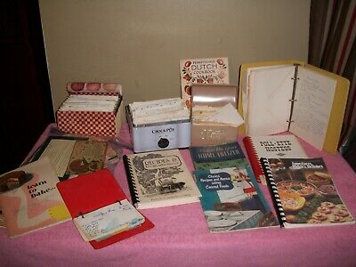 NICE Lot Vintage/Antique Estate Recipes Boxes~Books~Most Handwritten~Clippings