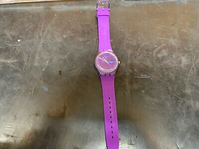 Swatch Men's SUOV702 Quartz, Dial Date Plastic Watch, Purple