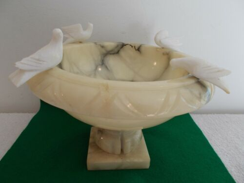 "Antique Solid Marble Pedestal Dish with 4 Bird Decorations, 8 1/2"" x 6"""