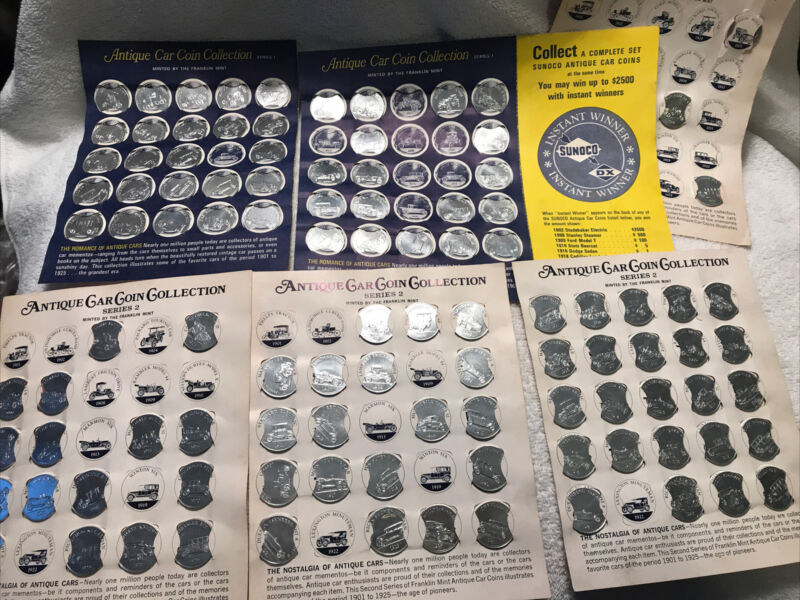Vintage 60s Sunoco Antique Car Coins Lot Series 1969 Gas Oil Game Early 1900s