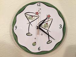 Ceramic 10 Battery Clock • Martinis • Santa Barbara Ceramic Design