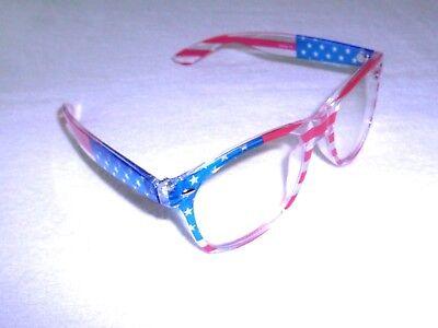 Flag Sunglasses Red White & Blue Clear Lens 100% UV Protection For Men or - Red White Blue Sunglasses