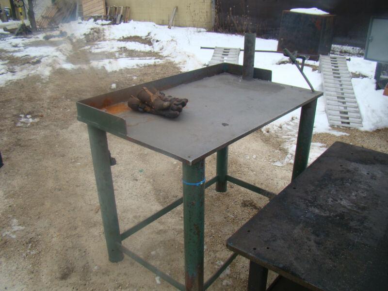 """Heavy Duty Fabricated Steel Welding Table 48"""" W x 30"""" Dp x 36"""" T x 1"""" Top plate"""