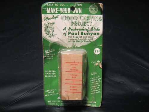 Vintage BSA Boy Scouts PAUL BUNYAN Wood Carving Kit Neckerchief Slide NEW!