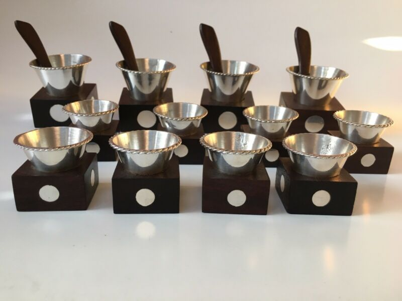 Sterling + Rosewood Salt + Butter 12 Pc. Set Taxco Mexico MCM Spratling Style
