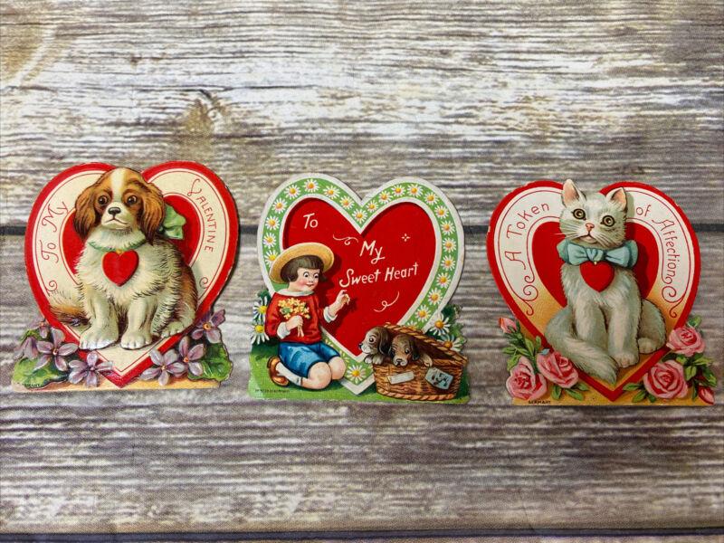 Vintage German Die Cut Stand Up Dog/ Cat ~ Floral Valentines~ Lot Of 3