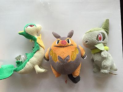 "Pokemon Snivey Pignite Axew 7"" Plush Toy Lot Jakks Pacific 2011"