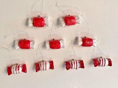 Set/9 Mini Peppermint Candy Gingerbread Xmas Tree Ornaments Crafts - Gingerbread Ornaments