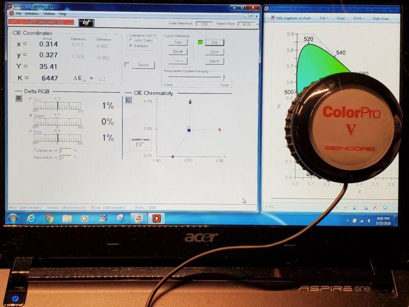 Sencore CP6000 w/ ColorPro V color sensor for ISF Calibration with software