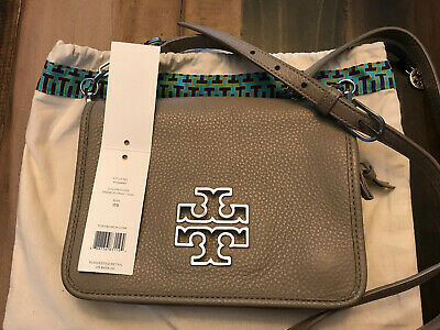 Tory Burch Britten Combo Crossbody Clutch Bag In FRENCH GRAY Leather (Tory Burch Silver Bag)
