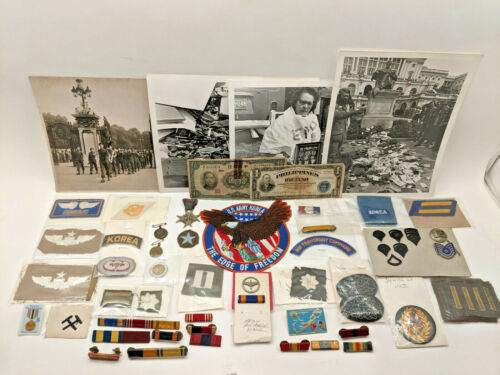 Vintage Military Patch button Pin Lot WW2 + More w/ some currency and photos