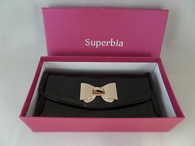 NIB Glossed & Found Wallet in Black by Superbia Faux Leather Great Gift Clutch