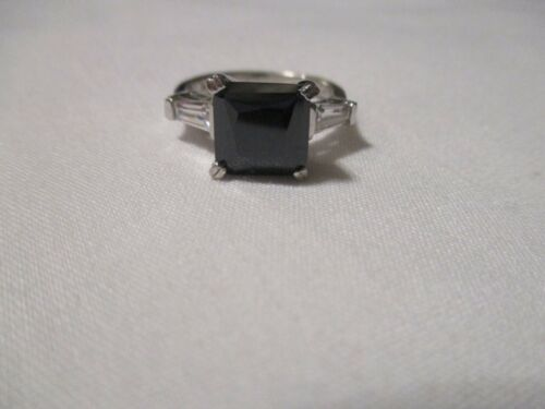 PRINCESS CUT CREATED SAPPHIRE & WHITE TOPAZ BAGUETTES STERLING SILVER RING - 7
