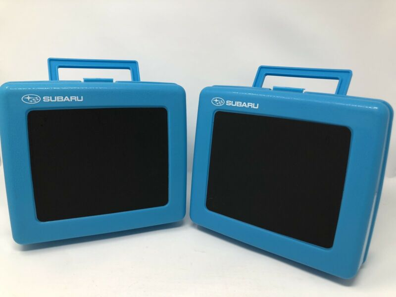 Subaru Lunch Box Blue Plastic Chalkboard Snack Kit Containers July 2017 Lot of 2