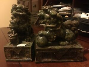 Set of lions jade 7 inch tall