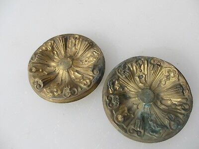 Antique Brass Ormolu Hardware Mount Gilt Leaf Scroll Rococo Victorian Old Flower