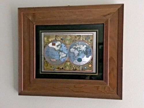Foiled Map Of The World 1626 Wood Frame