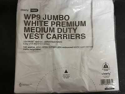 CARRIER BAGS RECYCLEABLE PREMIUM WHITE MEDIUM DUTY VEST