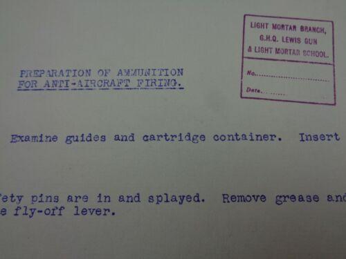 "WW1 British GHQ ""LEWIS MG & LIGHT TRENCH MORTAR SCHOOL"" Document (AA Firing)"