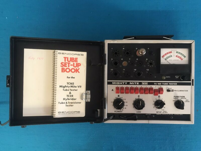 Sencore Model TC162 Mighty Mite VII Tube Tester w/ Manual/Book-Tested & Working