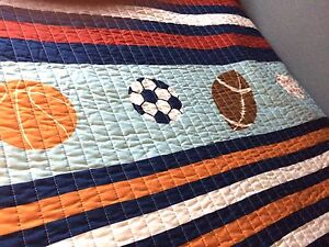 Boys Twin quilt and sham Sports theme. (2sets)
