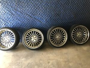 "4 ASANTI 22"" CHROME STAGGERED RIMS AND TIRES 5 LUG OFF BMW 6 SERIES NYC PICK UP!"