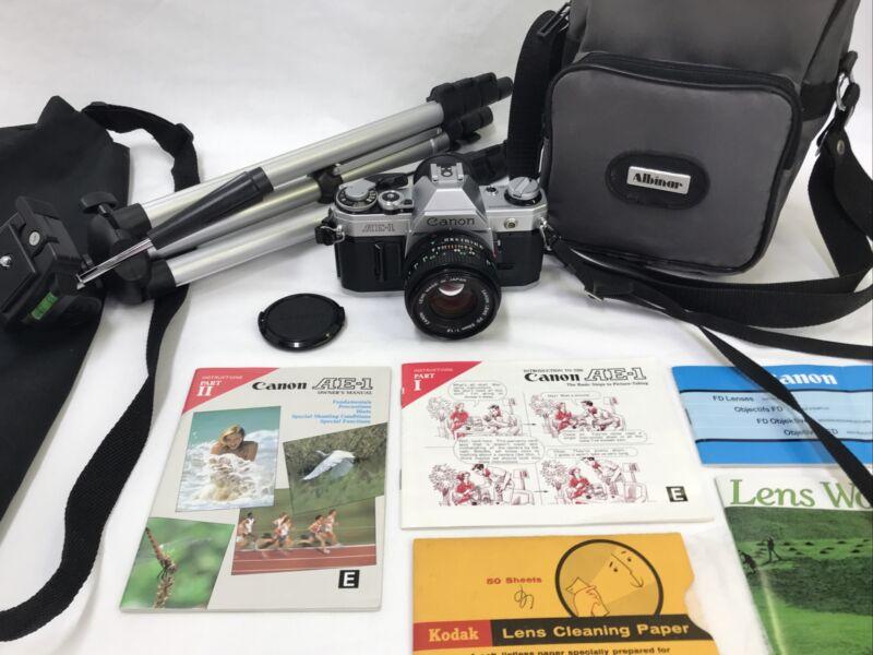 Vtg Canon AE-1 Program 35mm SLR Film Camera BUNDLE 50mm f1.8 Lens Working Meter