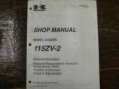 Kawasaki 115zv-2 Wheel Loader Factory Adjustment Shop Service Repair Manual