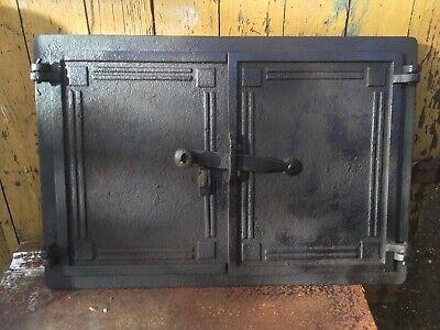 Double Door Vintage cast iron Fire door clay/ Bread oven / Pizza stove / Smoker- for sale  Saltash