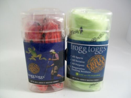 Set of 2  FROGG TOGGS-CHILLY DANA COOLING BANDANA Red & Green KEEP COOL