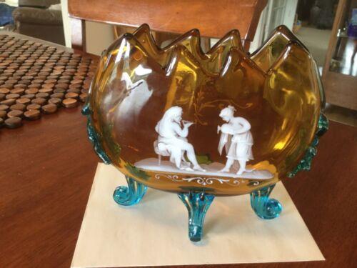 ANTIQUE 1880-1900 Blue & Amber ART GLASS Pillow Vase  w/ ENAMEL Figures