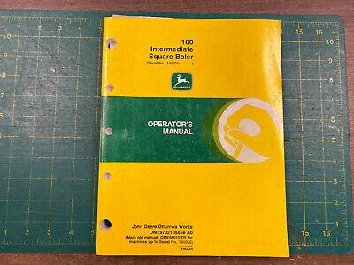 John Deere Oem Operators Manual 100 Intermediate Square Baler A0