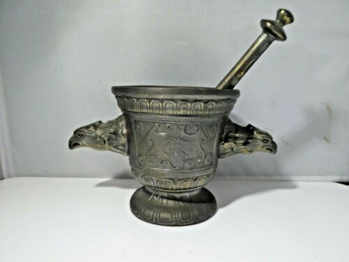 MID CENTURY PHARMACEUTICAL MORTAR AND PESTLE WITH EAGLE HEADS